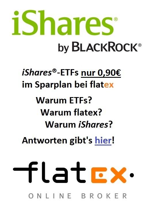 iShares-ETFs nur 0,90€ im ETF-Sparplan bei flatex