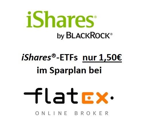 iShares-ETFs nur 1,50€ im ETF-Sparplan bei flatex
